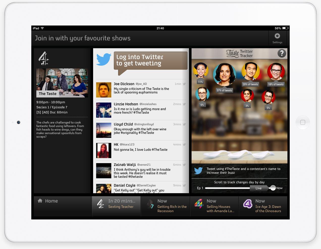 Channel 4 - The Taste Twitter Tracker